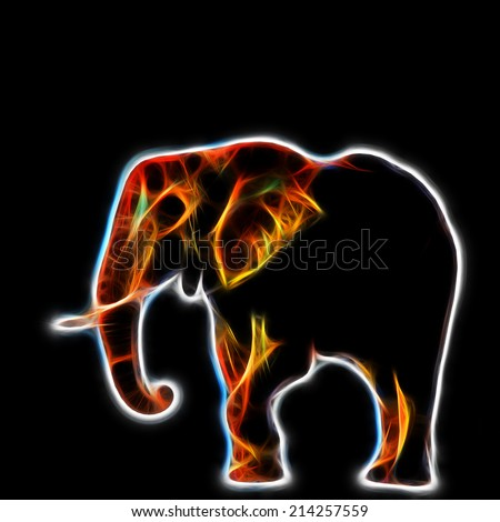 Fractal illustration of a gigantic male african elephant in the Kruger National Park, South Africa - stock photo