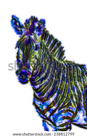 Fractal illustration of a Zebra - stock photo