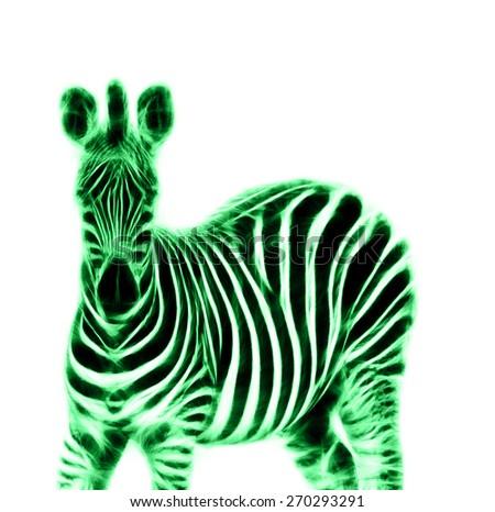 Fractal illustration of a Zebra - stock photo