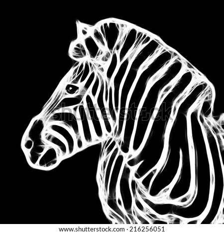 Fractal illustration of a Zebra in the Kruger National Park, South Africa - stock photo