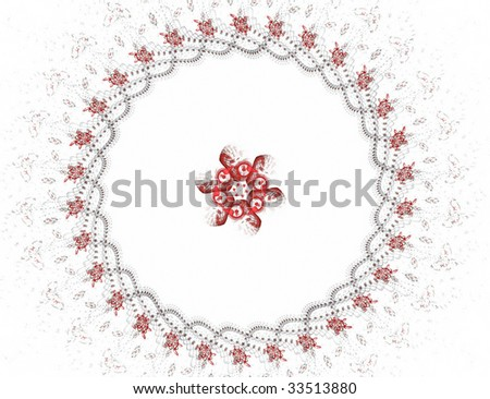 fractal illustration of red black object on white - stock photo