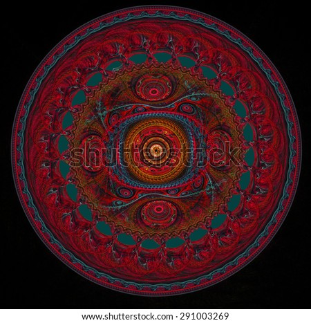 fractal illustration of round in the form of a red lacy napkin on a black background
