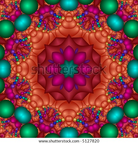 Fractal kaleidoscope in a rainbow of colors. - stock photo