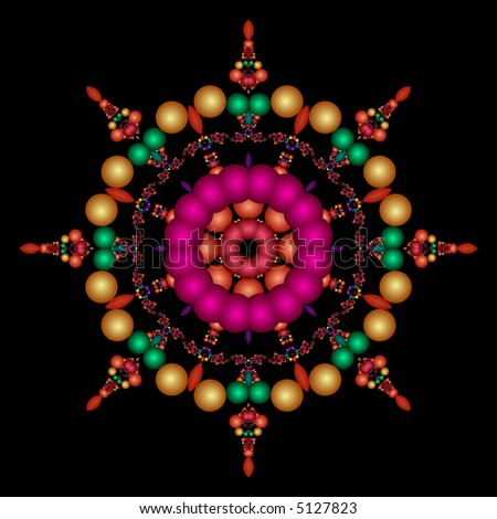 Fractal kaleidoscope in a rainbow of colors on a black background. - stock photo