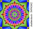 Fractal kaleidoscope in bright springtime colors. - stock photo