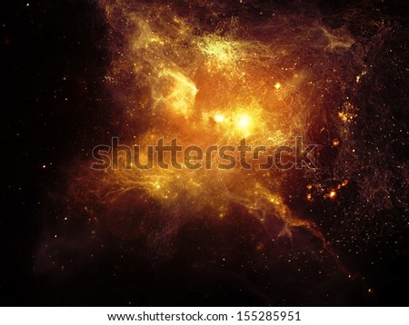 Fractal Nebulae series. Design made of fractal textures and lights to serve as backdrop for projects related to design, science and technology - stock photo