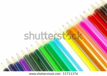 fractal of coloured pencils on white - stock photo