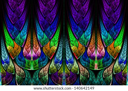 Fractal pattern in stained glass style. Computer generated graphics. - stock photo
