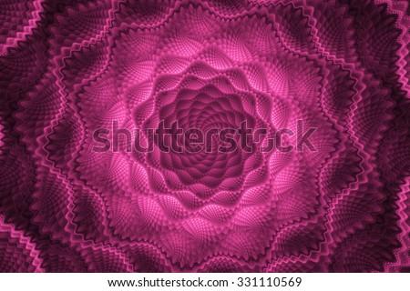 Fractal pink flower. Abstract image.Fractal wallpaper on desktop. Digital artwork for creative graphic design.Fractal art.Psychedelic. Print for clothes, t-shirt. Decoration for poster, booklet. - stock photo