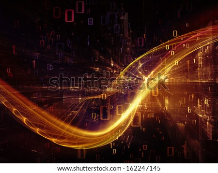 Fractal Realms series. Background design of fractal elements, grids  and symbols on the subject of education, science and technology - stock photo