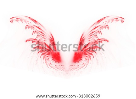 fractal red wings on a white background - stock photo