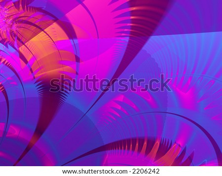 Fractal rendered blue and purple and red palm leaves - stock photo