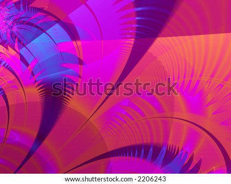 fractal rendered blue and purple palm leaves - stock photo