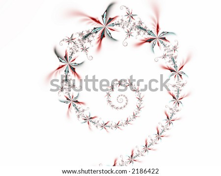 Fractal rendered flower spiral on white background - stock photo