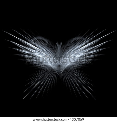 Fractal rendering of angel or butterfly wings - stock photo