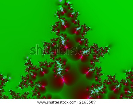 Fractal rendering of Christmas or holiday decoration, tree, wreath, holly - stock photo