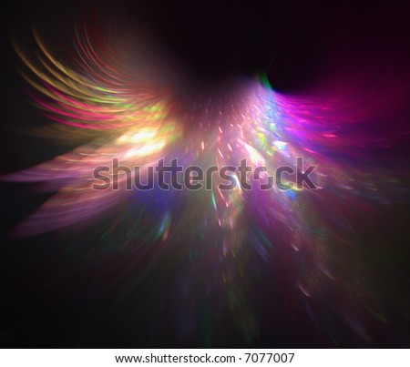 fractal rendering of rainbow angel or butterfly wings - stock photo