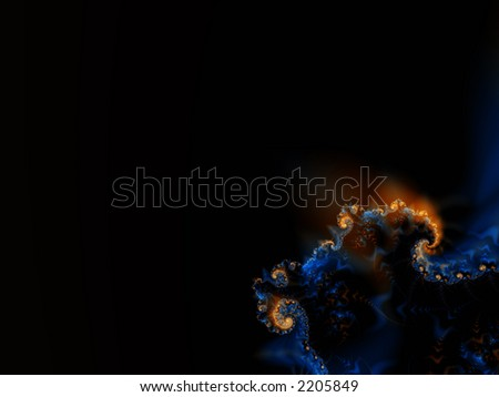 Fractal rendering of sea lava on the ocean floor - stock photo