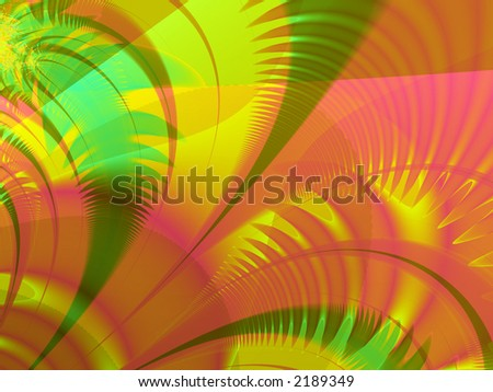 Fractal rendering of tropical, island, Miami palm leaves - stock photo
