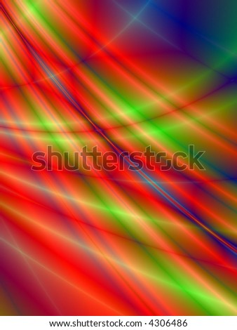 Fractal rendition of a colorful metal shining near water