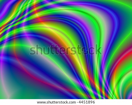 Fractal rendition of colorful smoke emerging in  a dark back ground