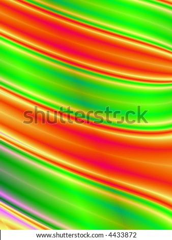 Fractal rendition of green and red curves in the form of a lawn