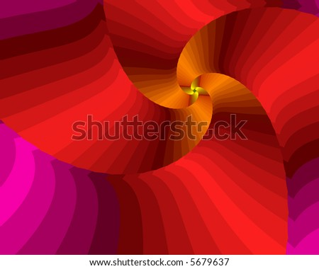 Fractal spiral in warm red and orange. - stock photo