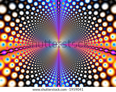 Fractal that simulates a wormhole, which can be used on telecommunications or internet concepts - stock photo