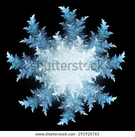 fractal three-dimensional illustration a snowflake on a dark background - stock photo