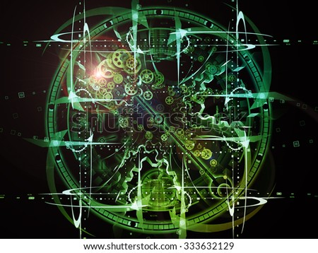 Fractal Time series. Creative arrangement of clock and fractal elements as a concept metaphor on subject of time, science and moder technology