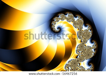 Fractal wave, curl or spiral with a classic regal look. Stylish gradient in blue, yellow gold, white, and black. Abstract of a nautilus shell in nature.