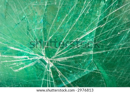 fractured green glass - stock photo