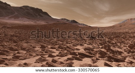 Fractured Martian sedimentary deposits - stock photo