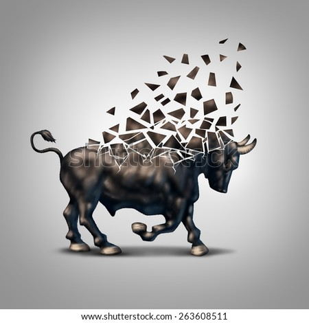 Fragile bull market financial crisis concept as an economic symbol for a crumbling positive forecast and investments falling apart due to valuation loss in the stock market. - stock photo