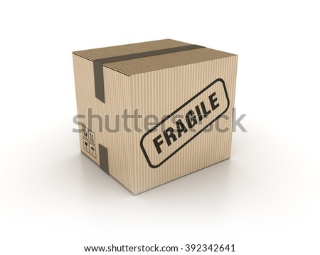 Fragile Cardboard Box on White Background - High Quality 3D Render