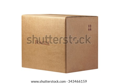 Fragile Closed Box Isolated - stock photo