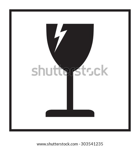 Fragile or packaging symbol. Glass icon.  - stock photo
