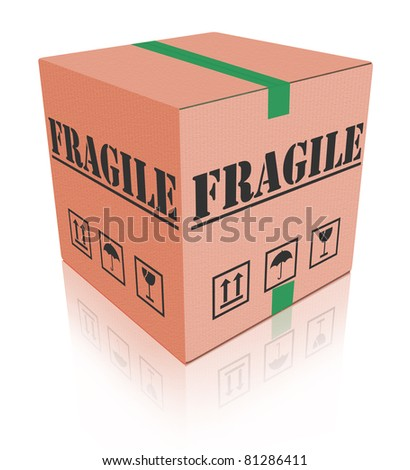 fragile post package sending delicate shipment cardboard box
