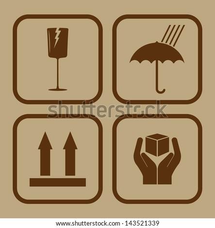 Fragile symbol on cardboard background - stock photo