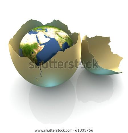 Fragile World - Earth globe facing Arabia in cracked egg shell - stock photo