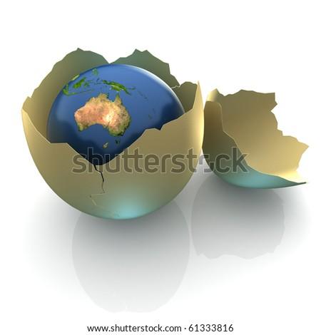 Fragile World - Earth globe facing Australia in cracked egg shell - stock photo