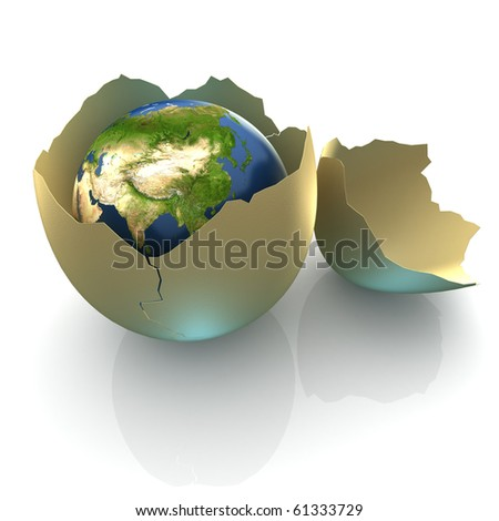 Fragile World - Earth globe facing Central Asia in cracked egg shell - stock photo