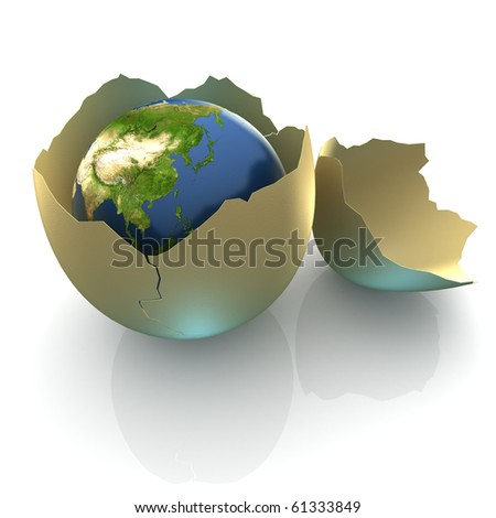 Fragile World - Earth globe facing Eastern Asia in cracked egg shell - stock photo