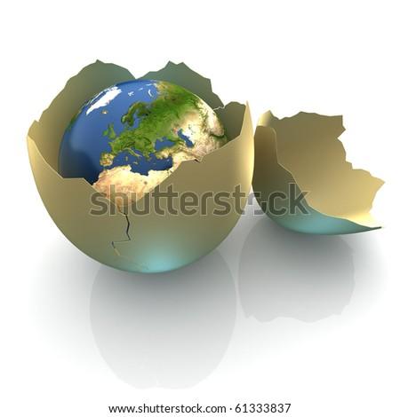 Fragile World - Earth globe facing Europe in cracked egg shell - stock photo