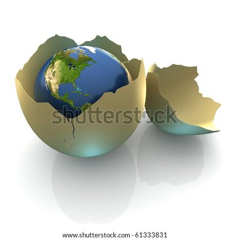 Fragile World - Earth globe facing North America in cracked egg shell - stock photo