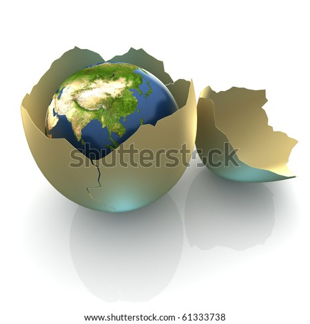 Fragile World - Earth globe facing South Asia in cracked egg shell - stock photo