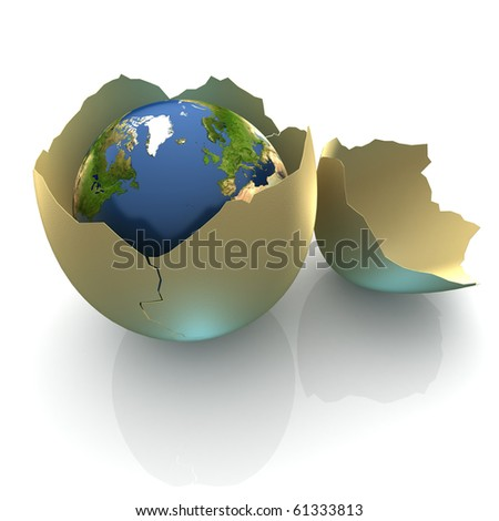 Fragile World - Earth globe facing the Northern Atlantic in cracked egg shell - stock photo