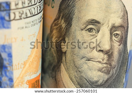 fragment banknotes US dollars background - stock photo