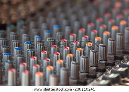 Fragment consoles sound mixer closeup - stock photo