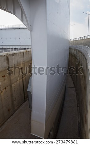 Fragment construction floating gate overlying marine fairway in the event of a threat of flooding. Saint Petersburg Flood Prevention Facility Complex - stock photo